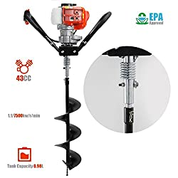 XtremepowerUS 43cc Gas Posthole Digger One Man Auger w/ 8