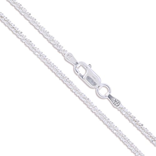 Sterling Silver Diamond-Cut Popcorn Chain 1.8mm 925 New Criss Cross Necklace ()