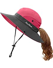 Kids Girls Summer Adjustable Sun Hat Ponytail Wide Brim UV Protection Outdoor Beach Foldable Fishing Caps