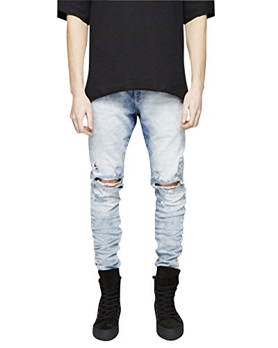 Strappati Pantaloni Fit Blu Casual Skinny Uomo Boyfriend Slim Jeans Strada Xaq0WE1Ff