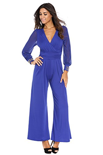 Women's Embellished Cuffs Long Mesh Sleeves Wide Leg Romper Jumpsuit (XS, Blue)
