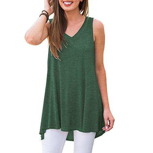 AWULIFFAN Women's Summer Sleeveless V-Neck T-Shirt Short Sleeve Sleepwear Tunic Tops Blouse Shirts (Variegated Green,S)