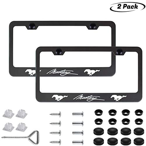 2pcs Newest Matte Aluminum Alloy License Plate Frame ,with Screw Caps Cover Set Suit,Applicable to US Standard car License Frame,FBA Fast Delivery,for Ford Mustang(Matte Black) ()