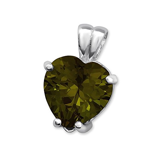 Glitz Jewel (Sterling Silver Simulated Olivine Heart Pendant with Cubic Zirconia)