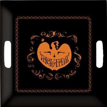 halloween scary silhouettes plastic serving tray