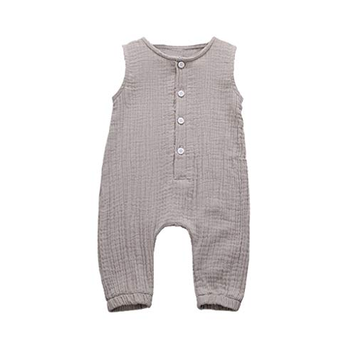 Fabal Summer Infant Baby Boys&Girls Ruffles Solid Vest Romper Jumpsuit Clothes Gray]()