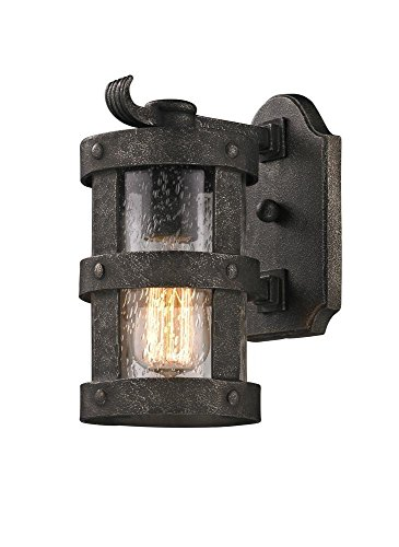 Troy Lighting Barbosa 1-Light Outdoor Wall Light - Barbosa Bronze Finish with Clear Seeded Glass (Troy Lighting Outdoor Iron)