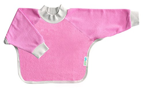 Kiddologic bibit-all Baby & Toddler Long Sleeved Full Coverage Pullover Waterproof Terry Bib (6-12 months (infant), wild orchid)