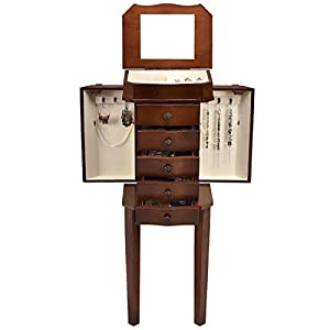 Jewelry Cabinet with Mirror Jewellery Box Organizer Wooden Jewelry Storage Armoire Hanging 5 Drawer
