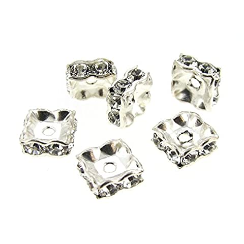 Dreambell 6 pcs Swarovski Elements Silver Plated 5mm Square Squaredelle Clear Crystal Bead Spacer / Findings / - Element Spacer