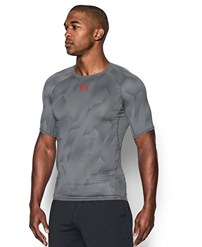 Under Armour Men's HeatGear Armour Printed Short Sleeve Compression Shirt, Graphite (042)/Pomegranate, Medium by Under Armour (Image #2)
