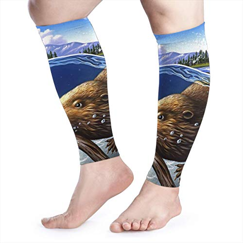 Calf Compression Sleeve - Busy Beaver Non Slip Knee Long Sleeve Leggings for Shin Splints,Running,Medical Care,Travel,Pain Relief for Men and Women -
