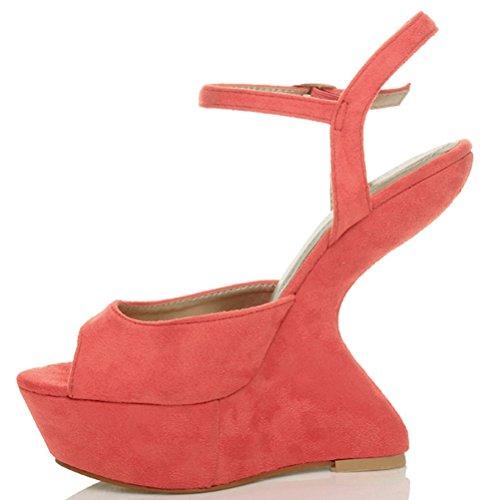 Damen Hoher Absatz Keil Ohne Absatz Peeptoe Ausgeschnitten Riemchen Sandalen Größe Korallenrot