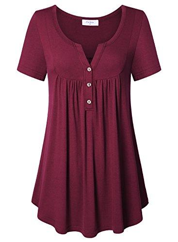 Ca Kra Blouses for Women Plus Size, Women's Short Sleeve Henley V Neck Pleated Blouses Tunic Shirt Top Wine Red XXL ()