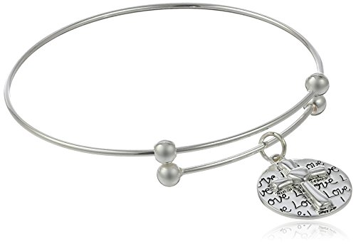 "Sterling Silver Adjustable ""Faith Hope Love"" Cross Charm Bracelet"