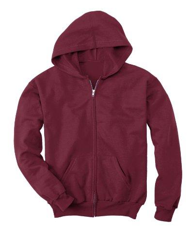 Hanes Youth 7.8 oz. ComfortBlendxFFFD; EcoSmartxFFFD; 50/50 Full-Zip Hood - MAROON - L