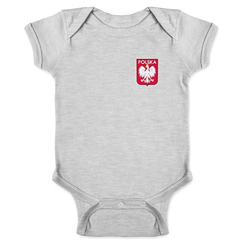 Poland Soccer Retro National Team Sports Football Gray 6M Infant Bodysuit (One Piece Replica)