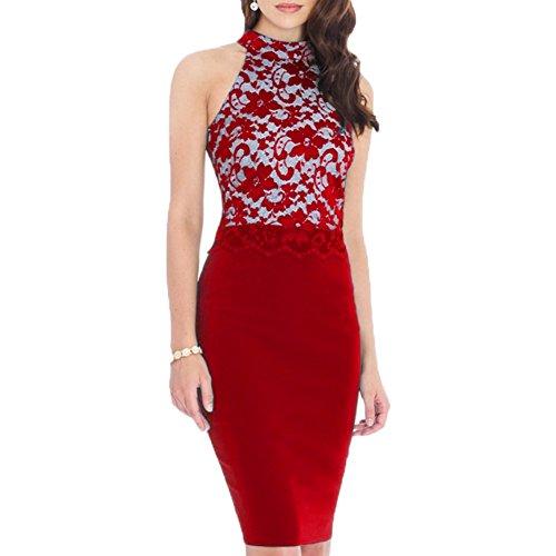 WOOSEA Women's Elegant Floral Lace Sleeveless Retro Bridesmaid Prom Dress (Medium, Red)