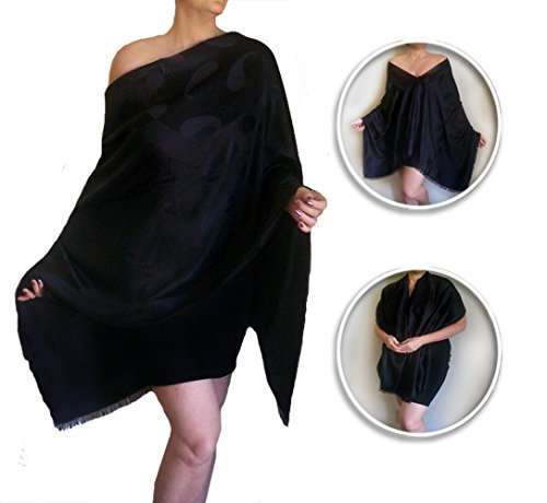 Plus Size Swimsuit Cover Up Long Black Shawl Silky Women's Poncho By ZiiCi