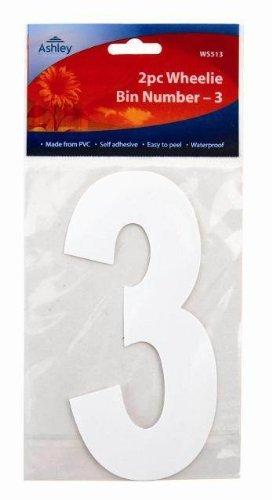 Mülltonnenaufkleber Nummer Weiß Selbstklebend 17cm 2 Stück Packung - Nummer 3 (WS513) - DESIGN 1