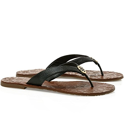 Tory Burch Thora Flip Flops Saffiano Leather Thong Sandals (7M, Black) by Tory Burch