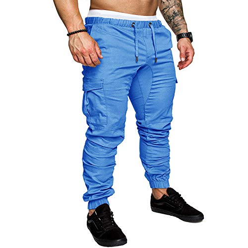 LINGMIN Men's Athletics Pocket Chino Cargo Pant Elastic Waist Trousers Jogger Pants Blue ()