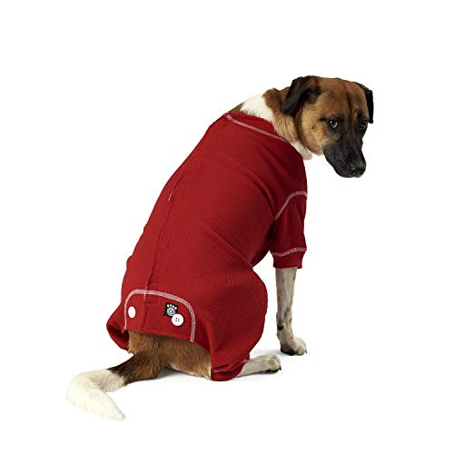 (PetRageous Cozy Thermal Pajamas for Pets, Large, Red with White Stitching )
