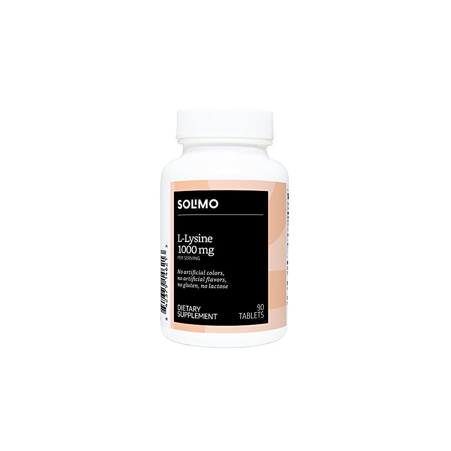 Amazon Brand Solimo L Lysine 1000mg, 90 Tablets, 45 Day Supply