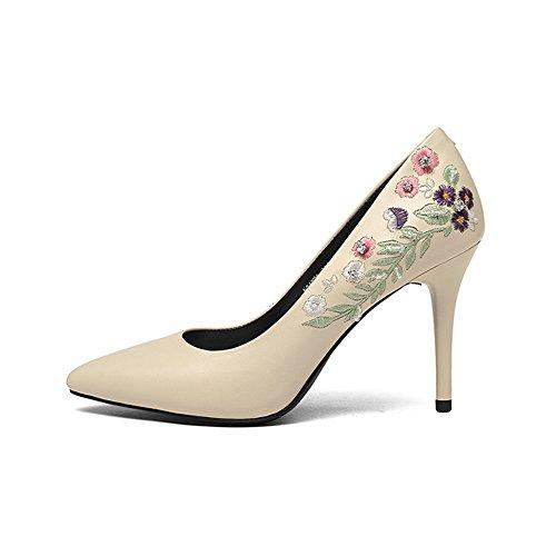 Banquet Sexy Printemps Chaussures Brodé Cuir Beige Hauts Court Femmes Talons Chaussures Véritable Mode En Talon Fine q6wnO51t