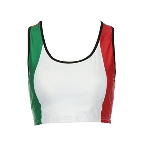 Transer Damen Sommer Sport Yoga Fitness Stretch Workout Shirt Tops Weste Drucken Mehrfarbig Rundhals Kragen Bustier