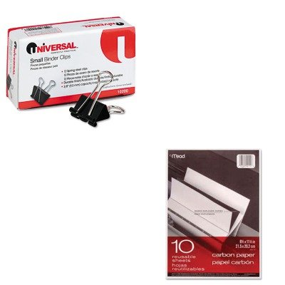 KITMEA40114UNV10200 - Value Kit - Mead Black Carbon Mill Finish Paper (MEA40114) and Universal Small Binder Clips (UNV10200)