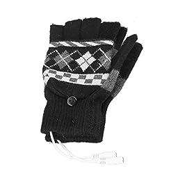 Dealpeak Cold Weather Winter Wool Knit Gloves USB Heated Warmer Gloves for Women Men Best Winter Gift Choice (GS67)