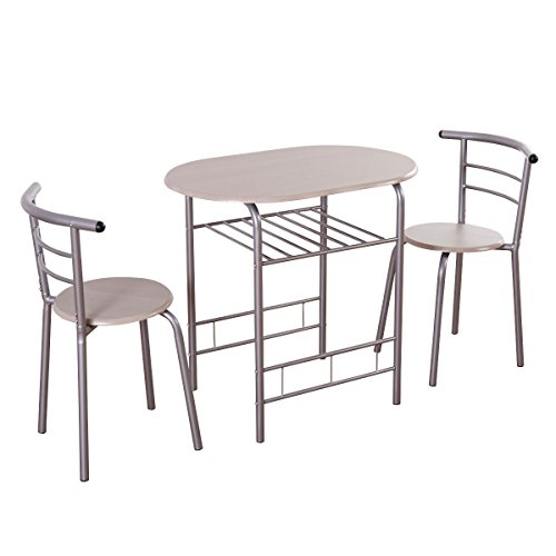 Giantex 3 Piece Dining Set Table 2 Chairs Bistro Pub Home Kitchen Breakfast Furniture (3 Dining Set Breakfast Piece)