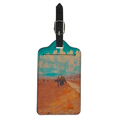 (Semtomn Luggage Tag Blue Sky Clouds Summer Steppe Landscape African Desert Mountains Suitcase Baggage Label Travel Tag Labels)