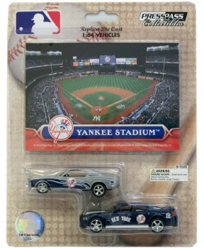MLB New York Yankees ford Mustang and Dodge Charger 1:64 Scale Diecast Cars Yankee Replica Baseball Stadium