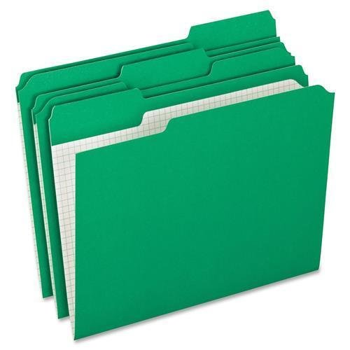 Pendaflex Reinforced-Top File Folder,1/3 AST Tab Cut,100/BX,Green (R152 1/3 BGR) ()