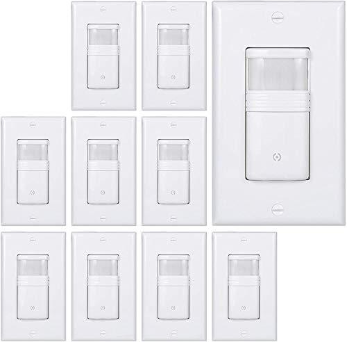 (Pack of 10) White Motion Sensor Light Switch