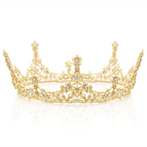 Aukmla Gold Wedding Crown Gold Wedding Fair Accessory Gold Bridal Hair Accessories Gold Crown Gold Tiara Bridal Tiara Crowns and Tiaras Headband for Women and Girls ()