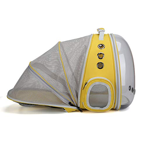 SOURCER Transparent Cat Backpack, Expandable Space Capsule Breathable Pet Carrier Bubble Shoulder Backpack for Small Dog, Outdoor Hiking and Traveling (Yellow) -