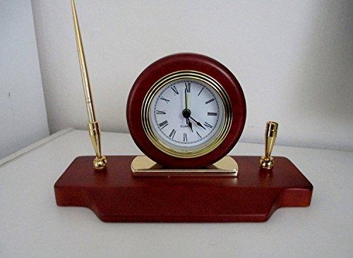 Quartz Clock and Metal Pen Set, High Gloss Rosewood Finish, Brass Plate (Rosewood Set Table)