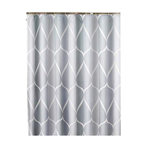 Juner Shower Curtain Liner Mildew Resistant Anti-Bacterial - Non Toxic, Eco-Friendly, 12 Hooks Printed Bathroom Polyester Curtains ()