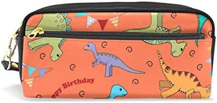 Estuche para lápices, diseño de dinosaurios, color naranja, bolsa de maquillaje de viaje, gran capacidad, impermeable, de piel, 2 compartimentos, el mejor regalo de Halloween para niños y niñas: Amazon.es: Oficina y