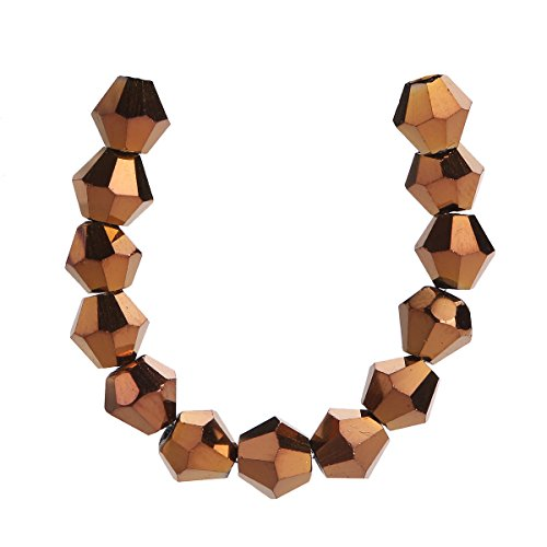 100Pcs Glass Crystal Faceted Rondelle Spacer Loose Bicone Beads Jewelry Findings 4mm Lot Color U Pick. (Copper)