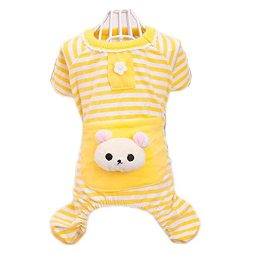 Dealzip Inc Yellow Cute Small Pet Dog Stripes Pajamas Coat Cat Puppy Clothes Apparel Clothing Size L For Sale