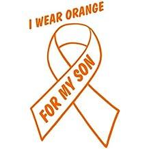 "I Wear Orange For My Son - Leukemia (4"" x 6"") ORANGE Die Cut Decal Bumper Sticker For Windows, Cars, Trucks, Laptops..."