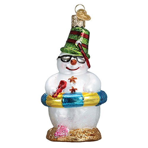 Old World Christmas Glass Blown Ornament with S-Hook and Gift Box, Snowman Collection (Snowman on Beach) -
