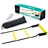 C.Park Speed Agility Roll Out Ladder, Footwork Training Plyometric 20 ft. Ladder 4 Metal Pegs | Ideal for Soccer, Boxing, Drills, Coordination & Athletic Skills Exercise (1- Pack, Black & Yellow)