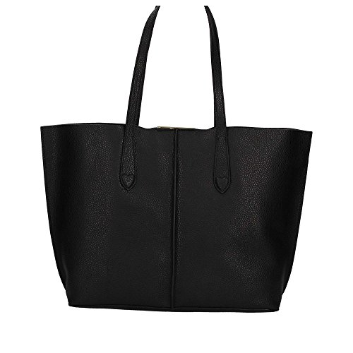 Borsa Shopping Twin Set in vera pelle a taglio vivo - Nero