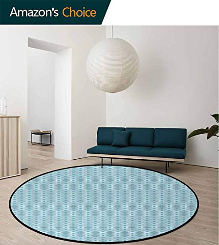 Abstract Non-Slip Area Rug Pad Round,Wavy Stripes Blue Tones Retro Design Inspirations Ornamental Lines Pattern Protect Floors While Securing Rug Making Vacuuming Round-51 Inch,Turquoise White