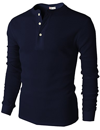 (H2H Mens Henley Shirt Long Sleeve Slim Fit Button Up Cotton Casual Tee Shirts Navy US XL/Asia 2XL (CMTTL045))